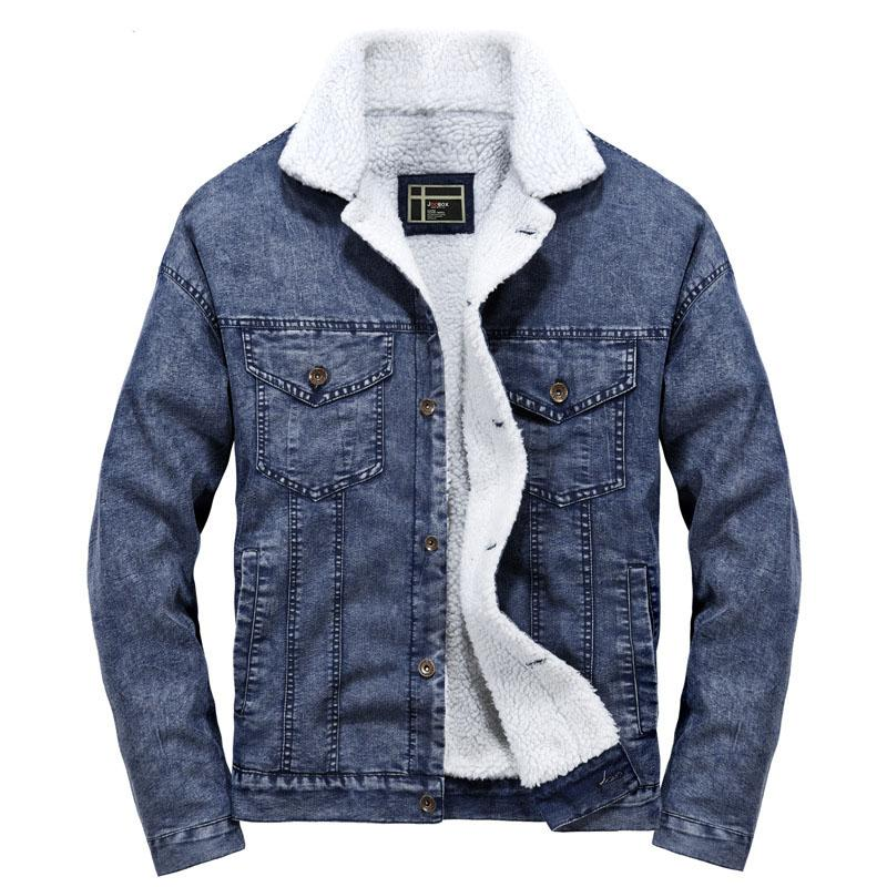 527f20071aa4 Idopy Winter Men`s Denim Jacket Fur Lined Vintage Thermal Warm Coat For  Cold Weather Male Outerwear Plus Size Fur Collar Jean Jacket Furry Leather  Jacket ...