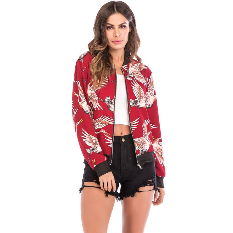 32261822034 Discount Women's Outerwear Jacket Women Casual Flying Crane Printing ...