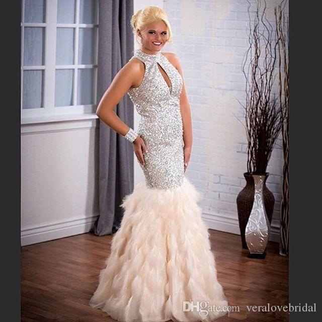 2018 lentejuelas vestidos de baile cuello alto pedrería con cuentas largos vestidos formales vestido de noche del desfile de plumas para mujeres