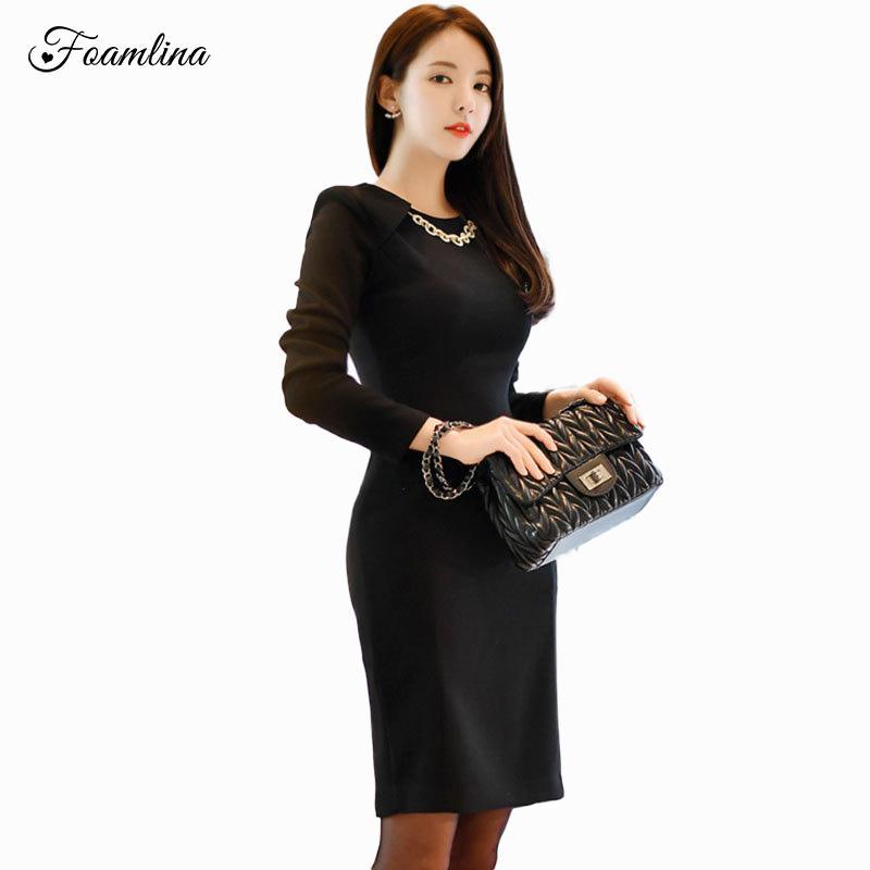new concept 4c4a3 6466a Foamlina Elegant Office Ladies lavoro matita abito donna nero manica lunga  vestito aderente formale abito tubino aderente
