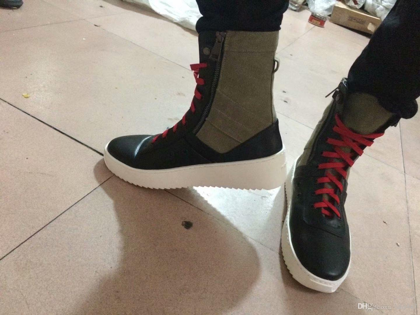 a4898e1016fa3 2019new FEAR OF GOD Military High Top Sneakers Mixed Color Suede Gum Grey  Nubuck Boot Fog Jerry Lorenzo Kanye Black Nylon Running Shoes Western Boots  Shoe ...