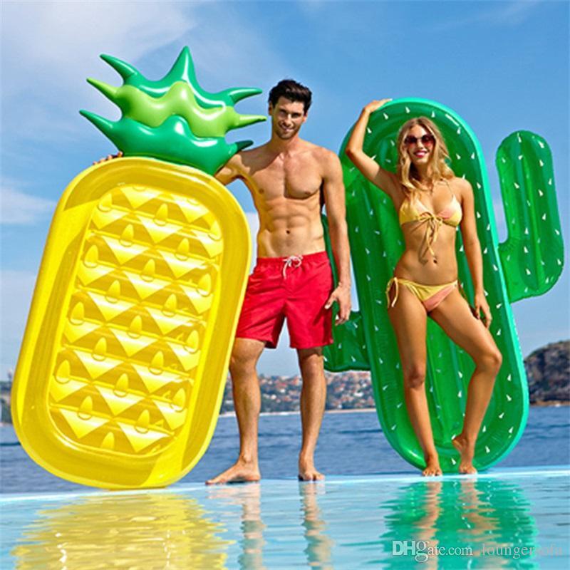 Été Vente Chaude Cactus Flottant Rangée En Plein Air Plage Overwater Inflation Eau Jouet Montures Épaississement PVC Matériel Piscine Flotteurs Mat 70rl