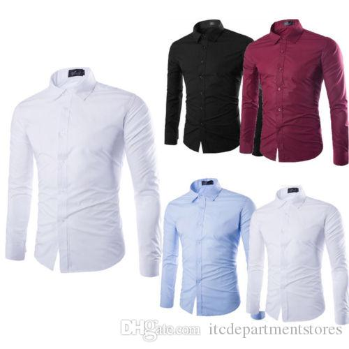 New Formal Shirts Men's Luxury Casual Plain Shirt Long Sleeve Slim Fit Business Shirts Fashion Solid TOPS Plus Size M-2XL