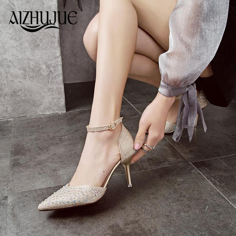 5853bdb760a84c Women Pumps Sexy High Heels Shoes Woman Silver Rhinestone Wedding Shoes  High Heels Party Shoes Summer Hight Heels Sandals White Shoes Wholesale  Shoes From ...