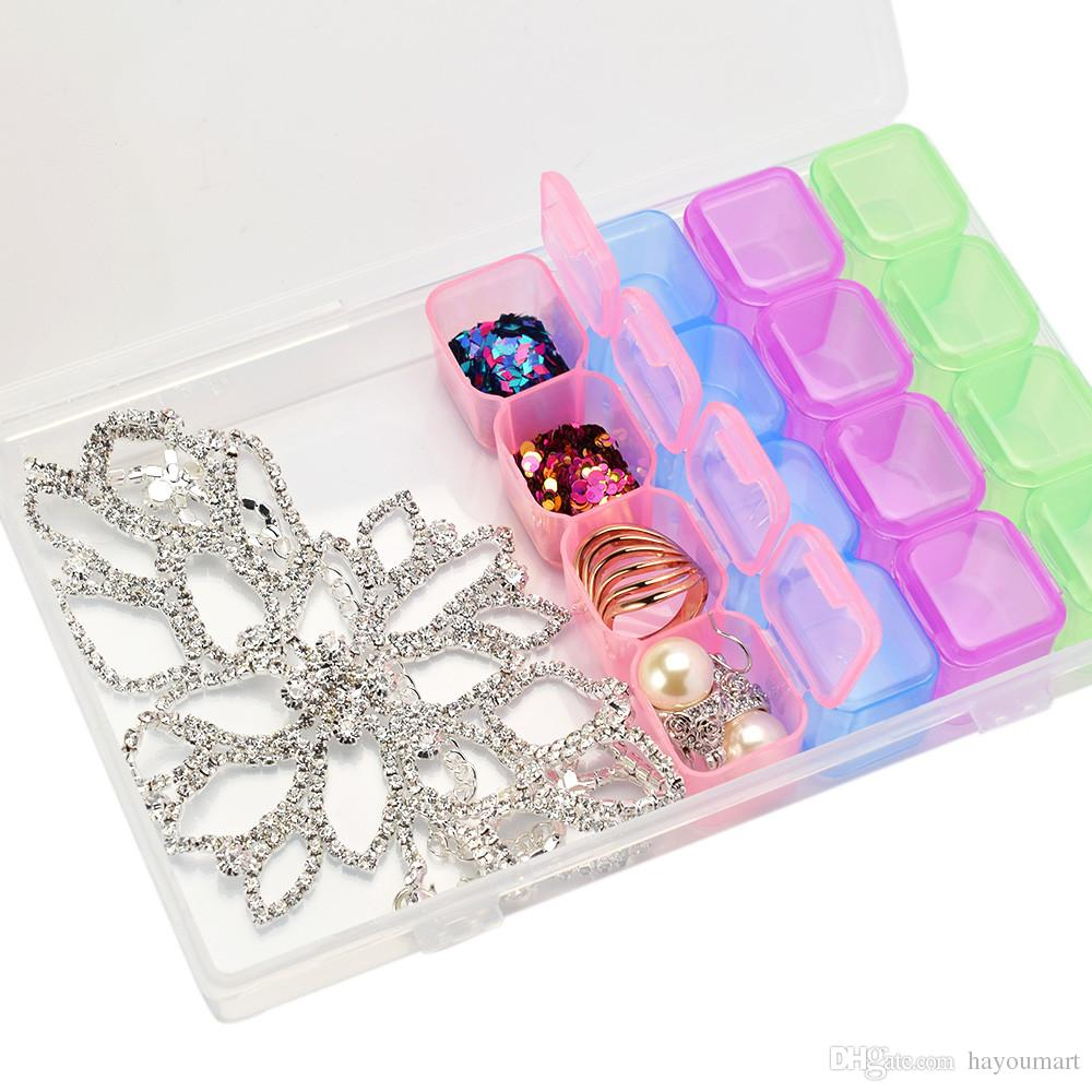 Clear Plastic 28 Slots Nail Art Storage Box Rhinestone Tools Jewelry Beads Display Storage Box Case