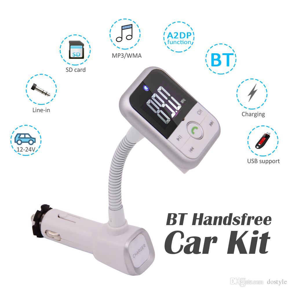 Car MP3 player In-Bluetooth Car Kit MP3 Player Handsfree Wireless FM Transmitter Radio Adapter With LCD Remote Control For SmartPhone