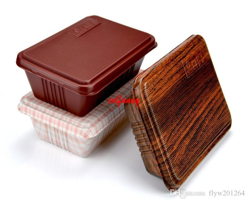 Creative Wood Grain Design Disposable Food Container Snack Packing Boxes Microwaveable PP Bento Box F051406