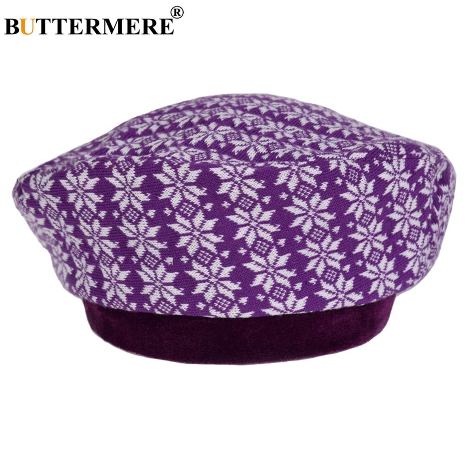 BUTTERMERE Knitted Beret Hat Women Purple Printed French Painters Hat Ladies Flower Elegant Autumn Winter Artist Cap Ladies 2018