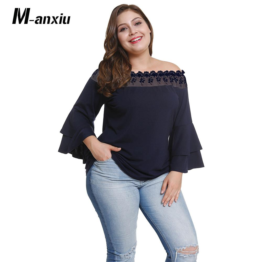 ca908f2d218 Women S Western Style Long Sleeve Slash Neck Flare Sleeve Temperament  Casual Fashion T Shirt Large Size Yellow And Navy Blue Shirts Tshirt From  Lucycloth