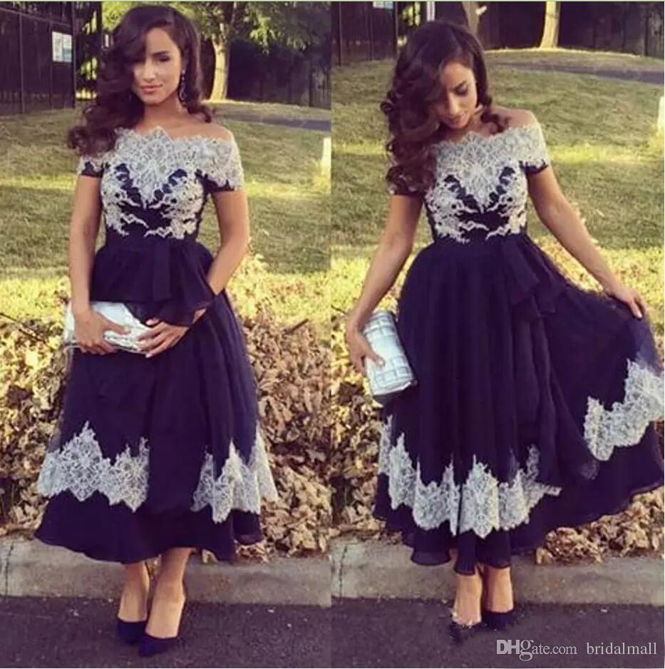 6800e17d2ee 2018 Blue Lace Appliques Long Prom Dresses Off Shoulder Vintage Graduation Gowns  Ankle Length A Line Formal Party Gowns Women Evening Dress Long Evening ...