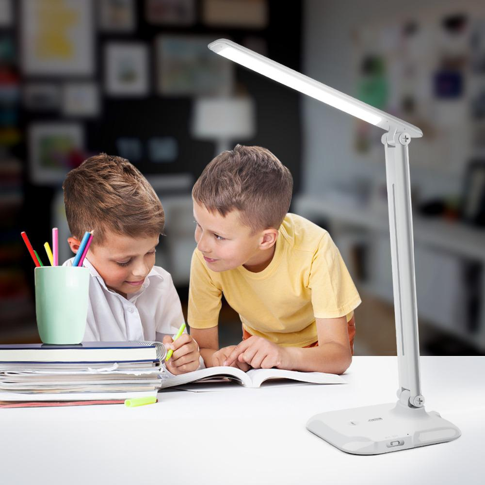 Color Temperature Adjustable Touch Sensor Control Dimmable Book Lights 7W USB Rechargeable LED Deak Lamps For Study Reading