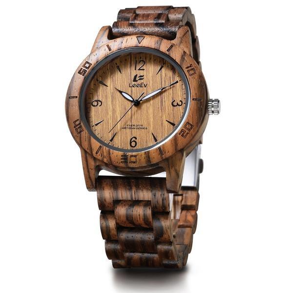 7060562c4f05 Compre LeeEv EV2075 Reloj De Madera Para Hombres Para Hombres Hecho A Mano  Sandalia De Cebra Madera Relojes De Madera De Época Para Hombre Regalos A   38.58 ...