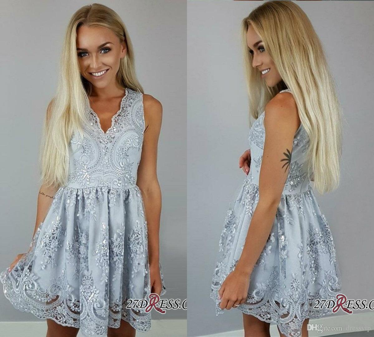 e457e68074a 2019 Homecoming Dresses V Neck Lace Appliques A Line Cheap Cocktail Dress  Sleeveless Girls Short Prom Dress Party Wear Sequin Dresses Cheap Sexy  Classy ...