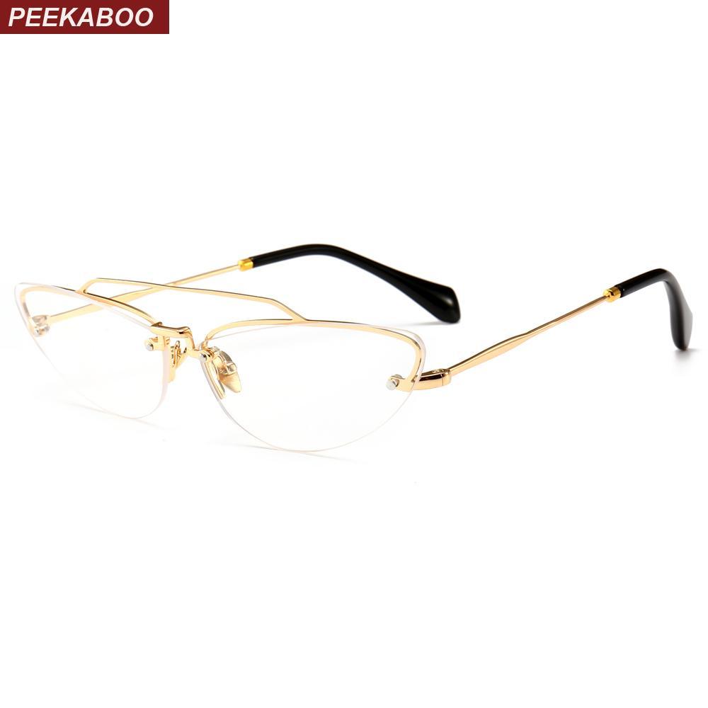 9f4ec9711d 2019 Peekaboo Small Cat Eye Glasses Frames For Women Designer Brand 2018  Semi Rimless Eyeglasses Frame Women Metal Gold From Frenky