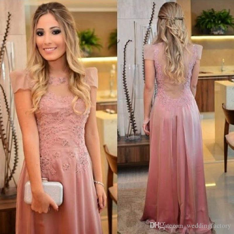 2019 Young Mother Of The Bride Dresses Jewel Neck Sheer Capped Short