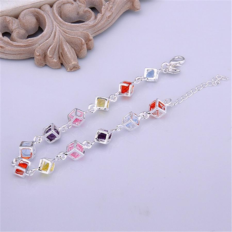 Belle braccialetti di cristallo di colore placcato argento nuovi annunci gioielli di moda di alta qualità Regali di Natale gioielli di nozze
