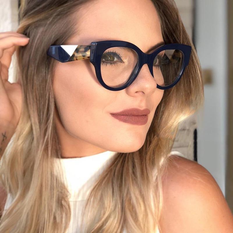 560c6d49b92cf Compre Moda Feminina Olho De Gato Claro Óculos De Armação De Marca Designer  De Quadros De Impressão Quadro Mulheres Armações De Óculos De Alta  Qualidade De ...