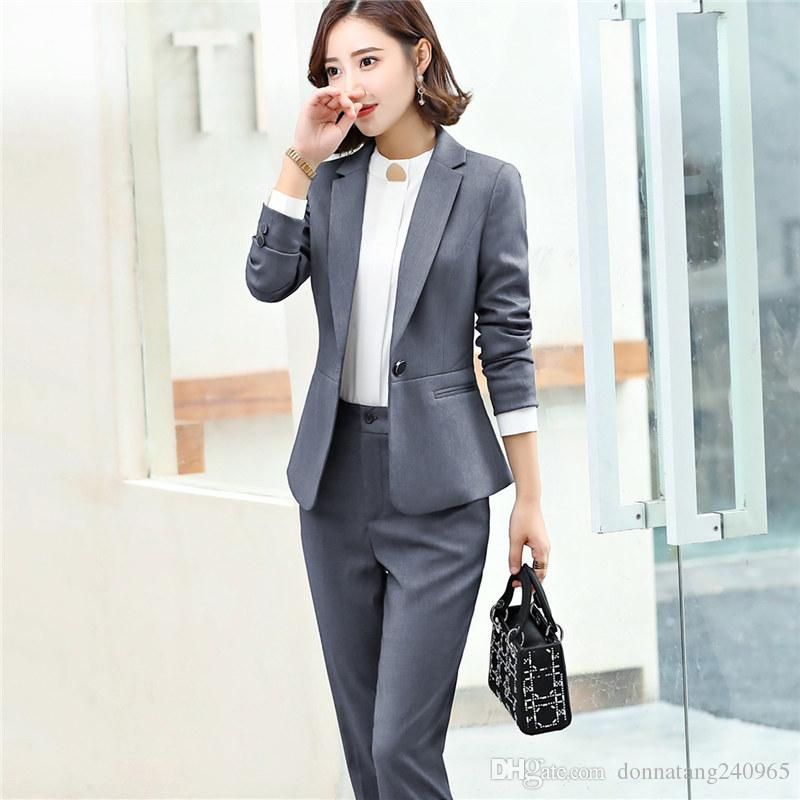 1dd3c4a8eea4 2019 Fashion Winter Style Women S Woolen Suit Jacket And Pants Two Pieces  Formal Suit Button Blazer Suits Slim OL Suits 6016 From Donnatang240965