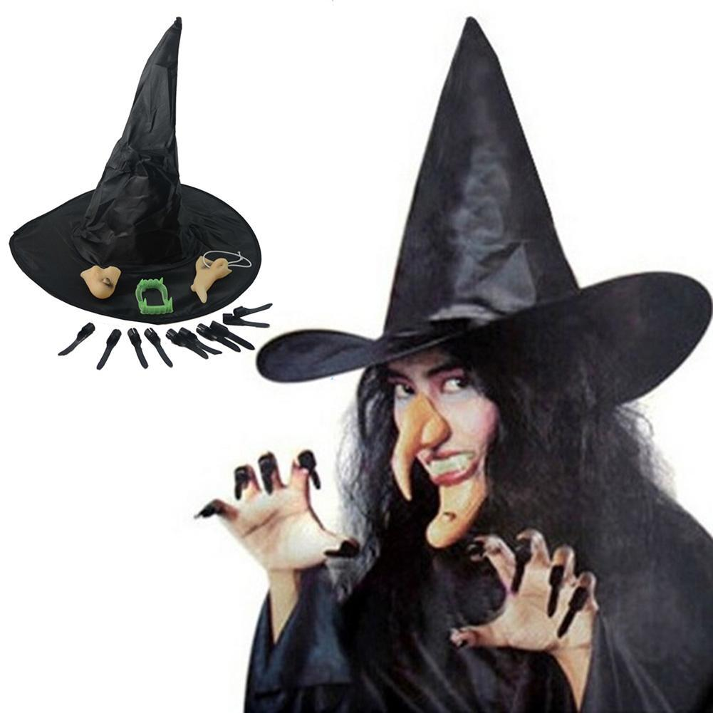 COSPLAY Durable Witch Hat Faux Denture Nail Tips Nose Chin Set Hallowmas Clothes Props Hot 30th Birthday Party Supplies 40th From Harriete