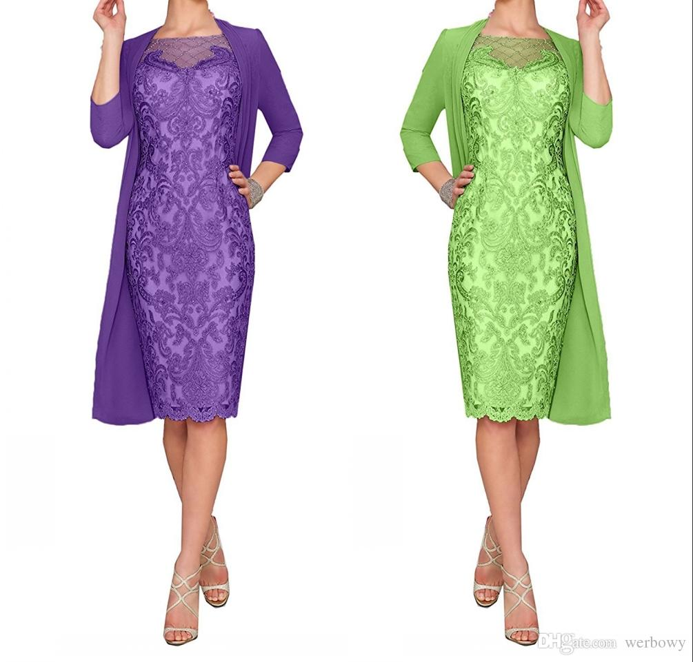 Lace Mother Of The Bride Dresses Plus Size Formal 3/4 Sleeve Knee ...