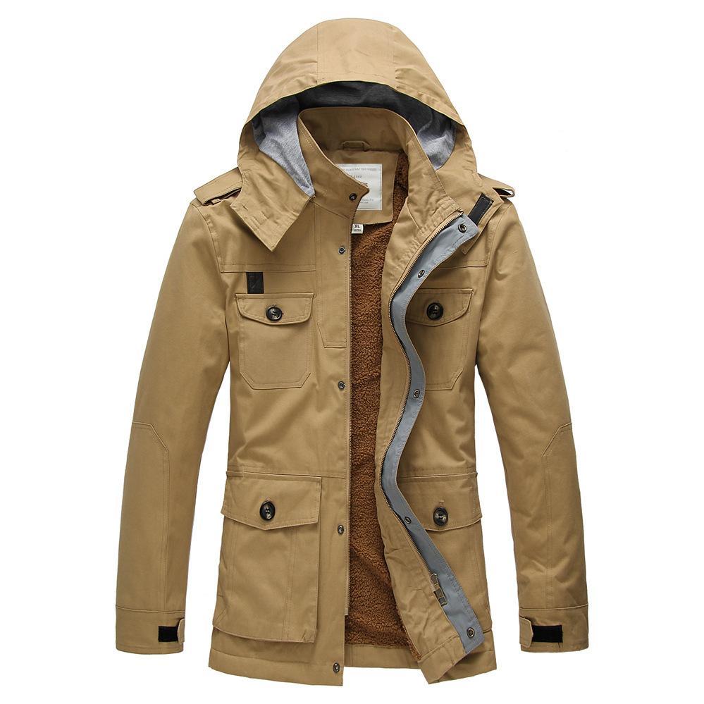 2017 New Arrival Men Long Trench Coat men Thick Warm winter Jacket Lambs wool lining Coat Cashmere Winter Jacket mens overcoat