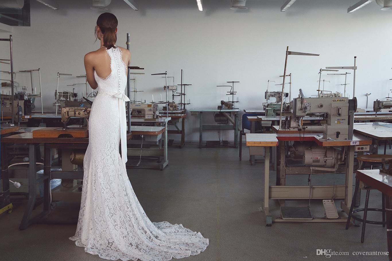 Vintage 2019 robes de mariée sirène Lihi Hod avec Halter cou balayage train entièrement chic élégantes dentelle plage trompette robes de mariée