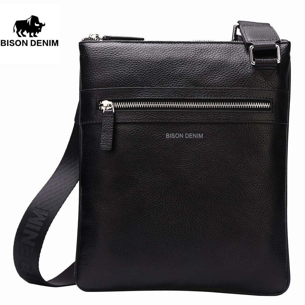 BISON DENIM Brand Genuine Leather Crossbody Bag Men Slim Male Shoulder Bag  Business Travel IPad Bag Men Messenger Bags N2424 S914 Red Handbags Italian  ... 635cb3f33089d
