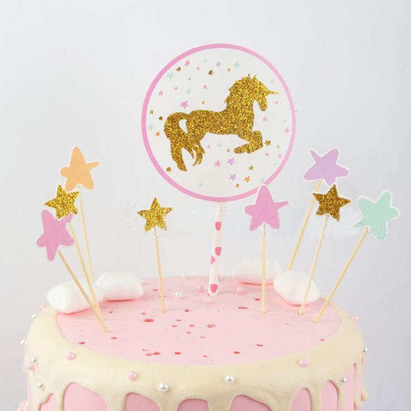 Compre 1 Juego Kawaii Nuevo Unicorn Cake Topper Fiesta De Cumpleanos