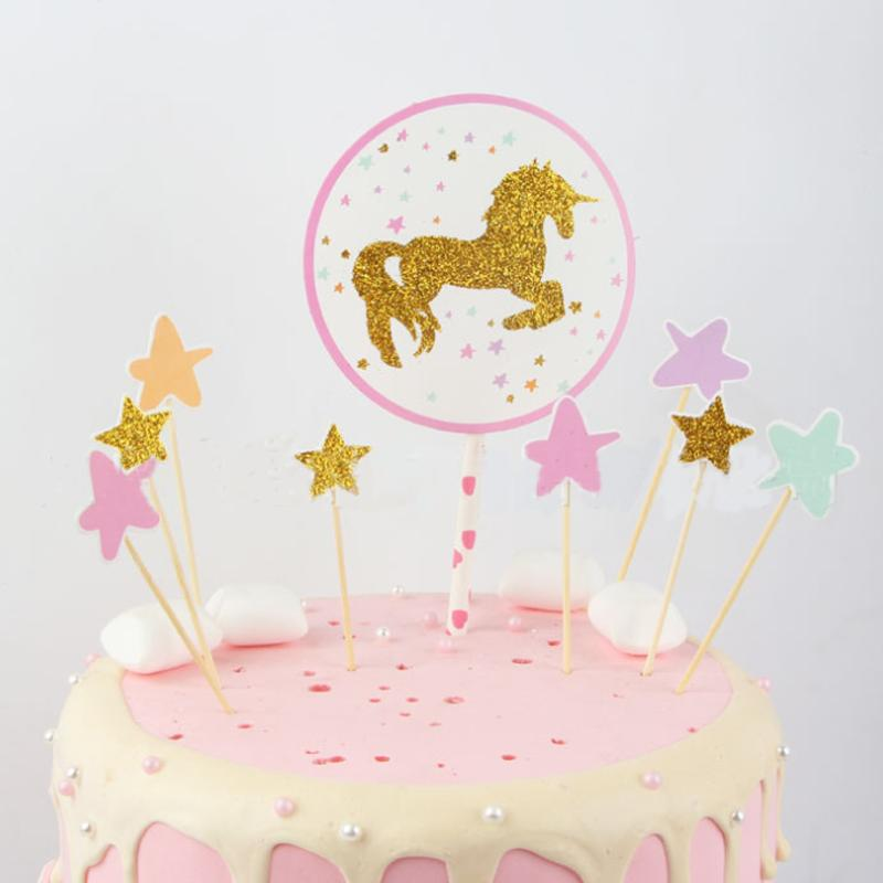 2019 Kawaii New Unicorn Cake Topper Birthday Party Decoration Kids Paper Star Cupcake Toppers From Hilery 2465