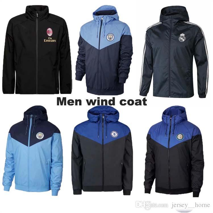 51f7096f23232 2019 Juventus Black Wind Coat Real Madrid Jacket Have Hat 18 19 KUN AGUERO  Training Uniform ASENSIO RONALDO Rain Coat Football Uniform Jacket From ...
