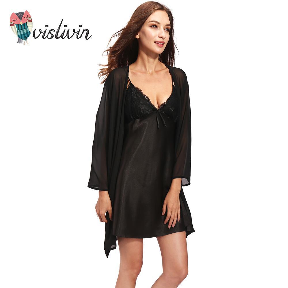 af9a2303e Vislivin Spring Summer Autumn Women Silk Nightdress Set of Robe ...