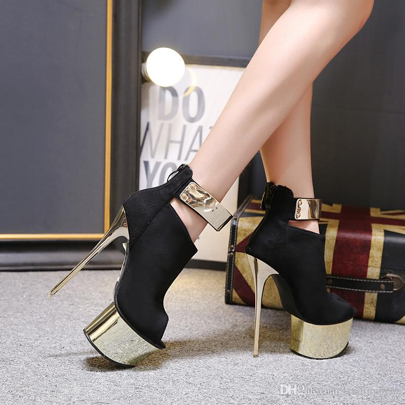 16cm fashion luxury designer women high heel shoes and pumps black gold platform metal strappy peep toe shoessize 34 to 40