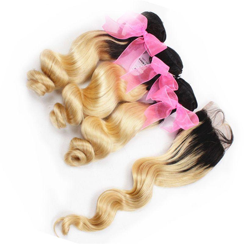 Ücretsiz Orta Kısım Kapanması ile Dantel Kapanış Platin Sarışın Ombre Gevşek Dalga Brezilyalı saç örgüleri ile Ombre 613 Sarışın İnsan Saç Paketler