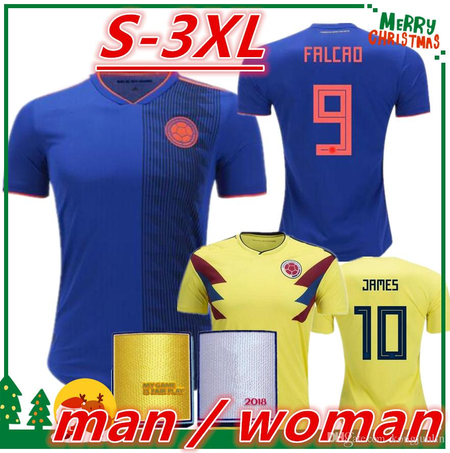 2018 2018 Colombia Soccer Jerseys Russia World Cup Home Away Jersey James  Falcao Cuadrado Women Aguilar Guarin Sanchez 2019 Woman Football Shirt From  ...