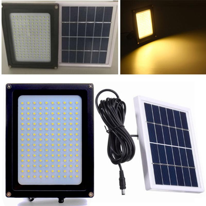 150 Led Warm White Solar Flood Light Yard Street Path Security Lamp