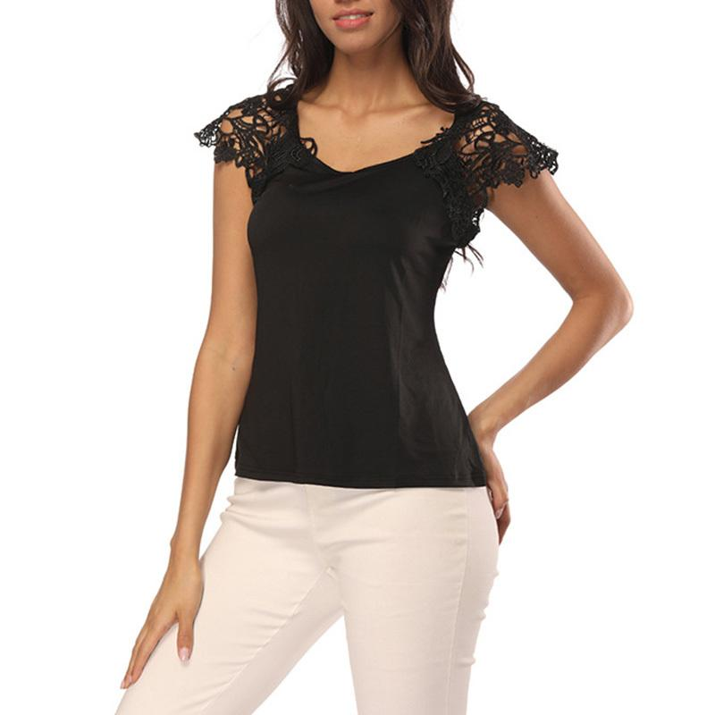 b2bf0f84e69 Womens Slim Fit Lace Shoulder Tshirts Casual Summer Short Sleeve Tees Solid  Color Lace Patchwork Pullovers Tops WS9045U Shop T Shirts Online T Shirt  Shirt ...