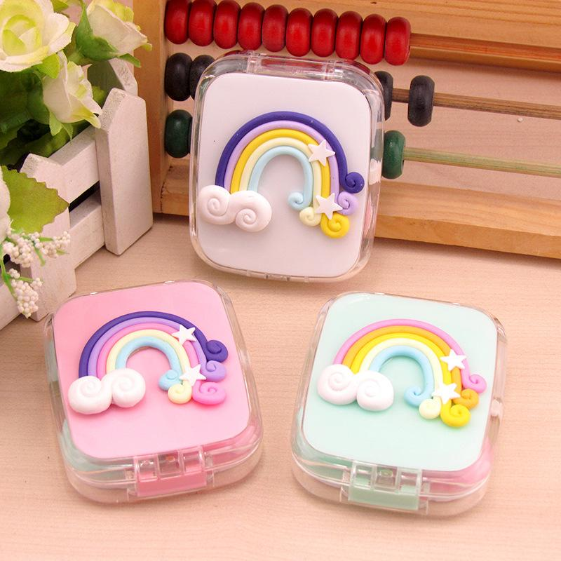 2a04f3c8 2019 LIUSVENTINA Portable DIY Resin Cute Colorful Rainbow Contact Lens Box  With Mirror Case For Color Lenses Christmas Gift For Girls From Haydena, ...