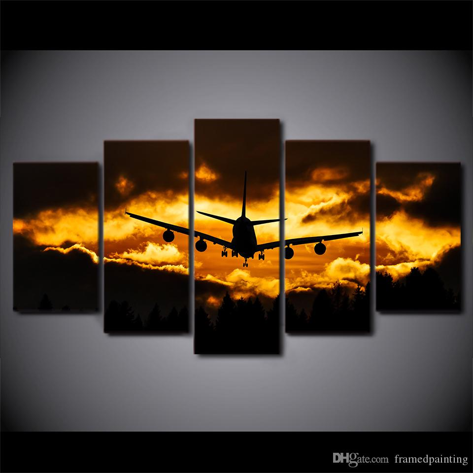 HD Printed 5 Piece Canvas Art Airplane Sunset Canvas Painting Wall Pictures for Living Room Home Decor Free Shipping