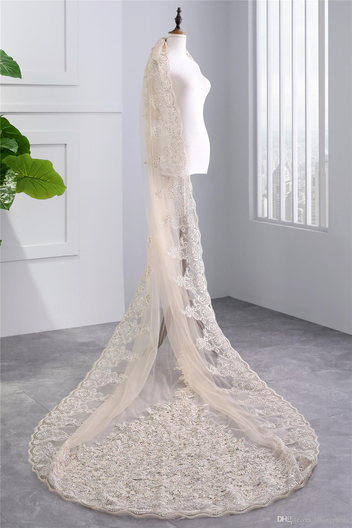 JaneVini Luxurious Long Wedding Veil Lace Edge Sequined One Layer Champagne Cathedral Length Bridal Veils with Comb Voile Mariage Longues