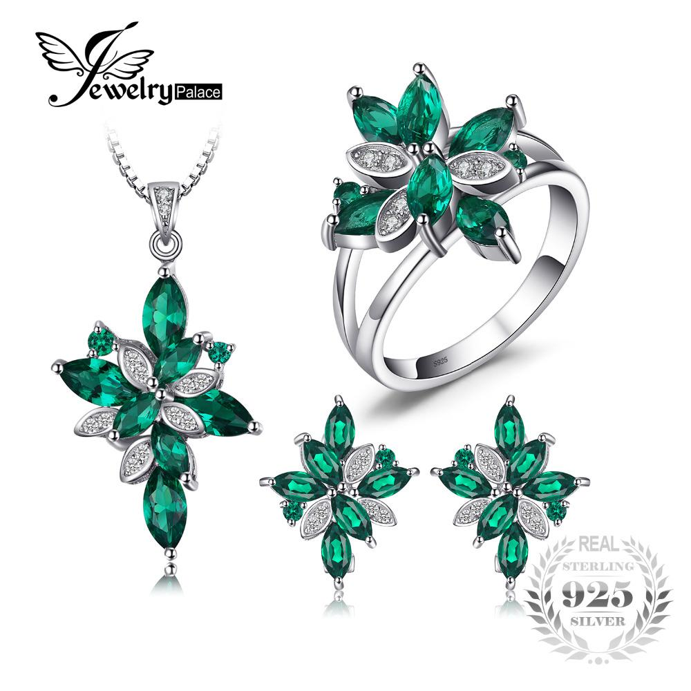 8184a6d07 2019 Jewelry Mystic Green Created Emerald Jewelry Set 925 Sterling Silver  Ring Necklace Pendant Earring Clip Women Bridal Set From Maocai, $94.27 |  DHgate.