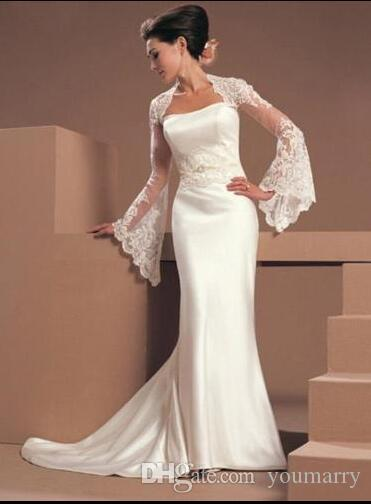 Lace Wedding Jacket Cape Flare Long Sleeve Bridal Wrap Bolero White Ivory Custom