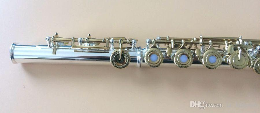 Excellence 16 open hole flute C Key silver plated body Golden key Great tone