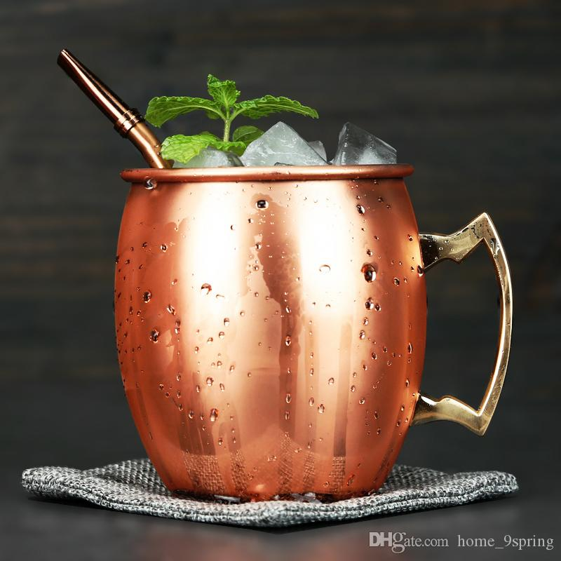 18OZ Stainless Steel Moscow Mule Mug Retro Cocktail Glasses Beer Mugs Drum Copper Plated Iced Wine Coffee Cups Drinkware Bar Supplies
