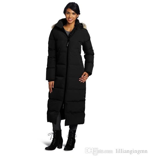 new product e126b 7e1d5 Abbigliamento outdoor da donna canadese e piumino d oca addensato, a prova  di caldo e freddo, indumento extra lungo resistente al freddo