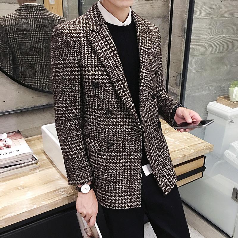 2018 новый мужской бутик Моды плед бизнес повседневная костюм куртки / мужчины шерстяное пальто мужская тонкий случайный костюм мужской длинный блейзер