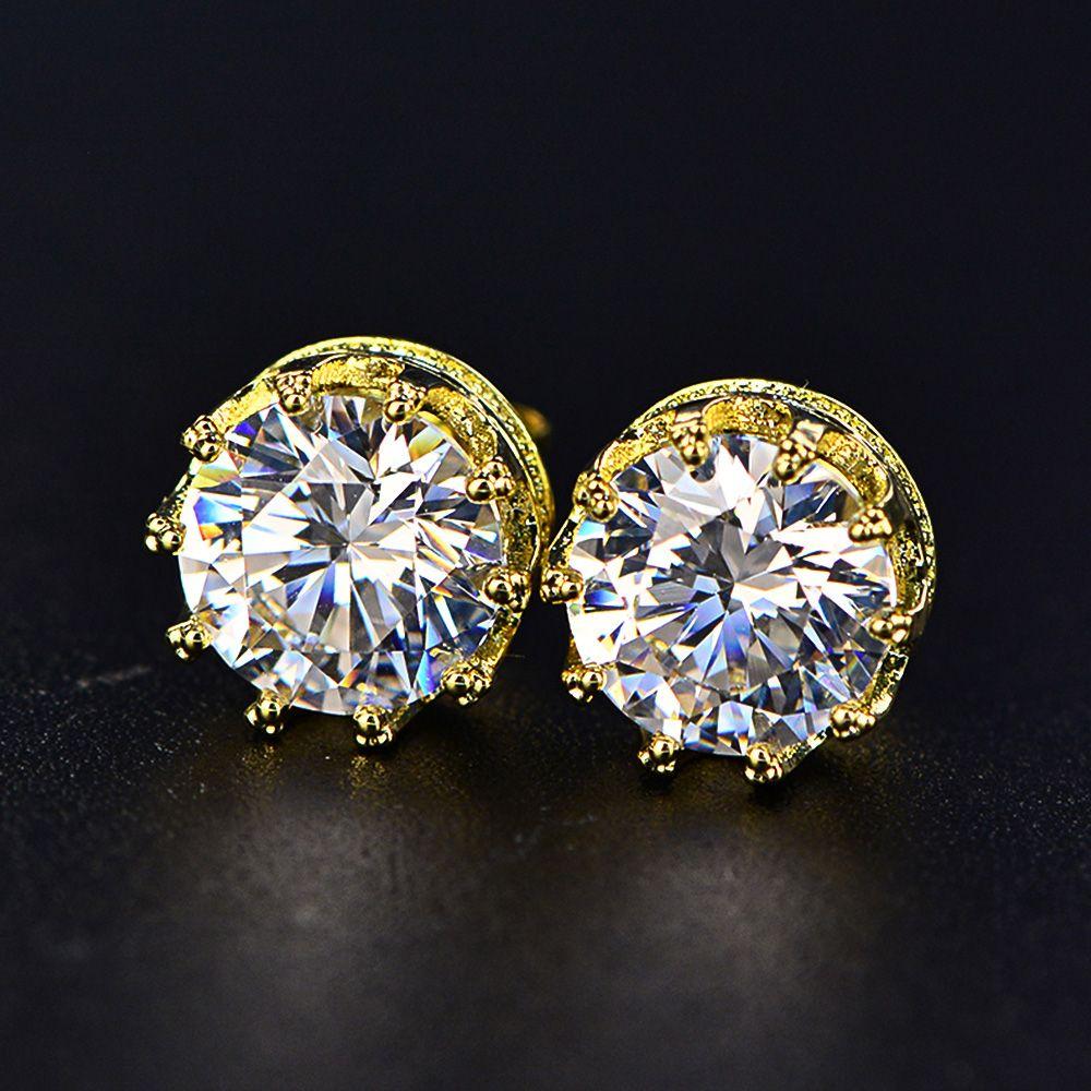 TIESET CZ Diamond Stud Earrings Sterling Silver Round Cut Cubic Zircon Earrings jewelled