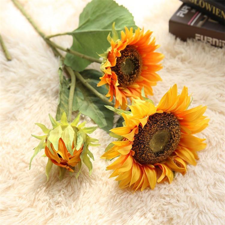 Girassol Artificial Flor De Noiva Buquê de Flores de Casamento Decorações Do Partido Home Room Decor Flores Decorativas 12 pçs / lote T2I249