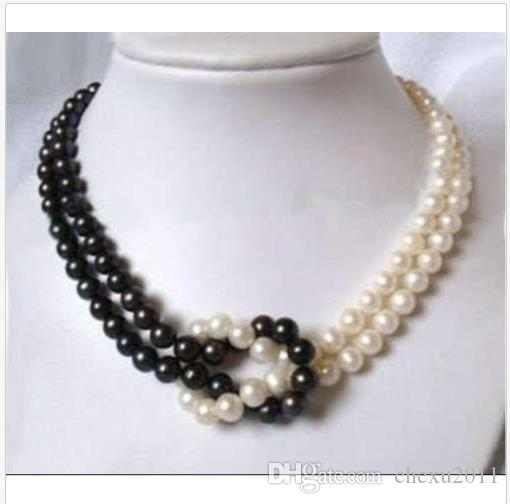 Handmade Women/'s 7-8MM Natural White Akoya Cultured Pearl /& Opal Necklace 18/'/'