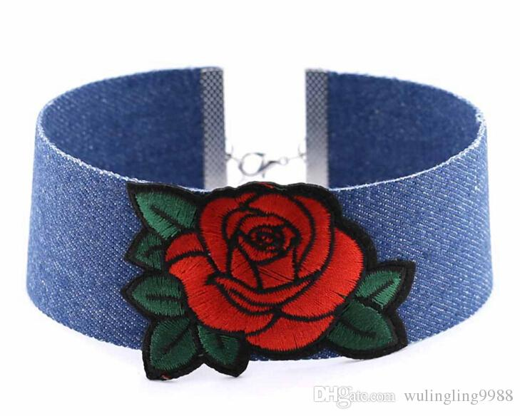 New Blue Denim Bordado Gargantilha Colar Colar Rose Legal Coração Diamante Bandeira Nacional Da Coroa Borboleta Charme para As Mulheres de Jóias