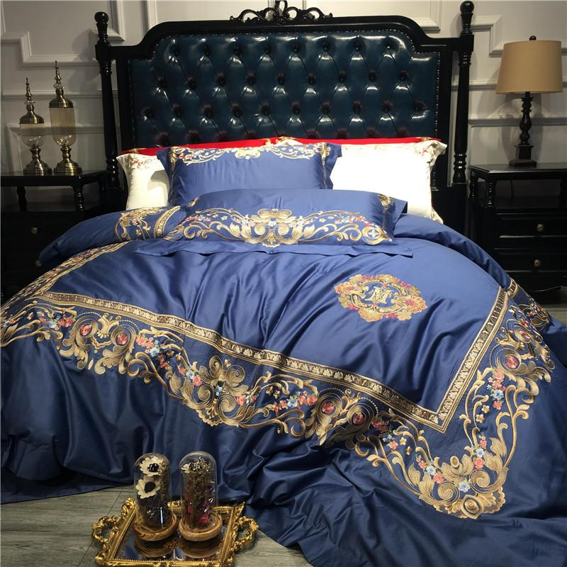 Acheter Bleu Blanc Rouge Luxe Or Royal Broderie 100 S Coton